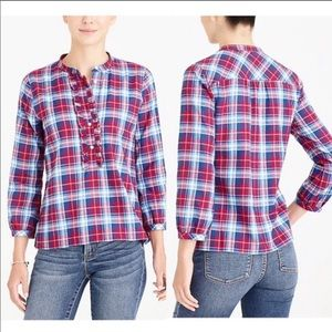 J.Crew Ruffle Flannel Top Size Small